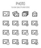 Set of photo icons in modern thin line style. High quality black outline images symbols for web site design and mobile apps. Simple photo pictograms on a white Stock Photo