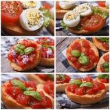 Set of photo Italian bruschetta with tomato Stock Image