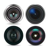 Set of Photo Lens isolated on white background Royalty Free Stock Photos
