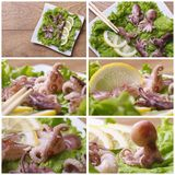Set of photo little octopus with lemon Royalty Free Stock Images