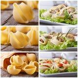 Set of photo pasta lumakoni stuffed and dry Stock Photography