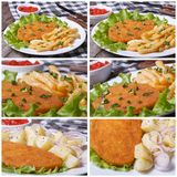 Set of photo schnitzel and fries with sauce and lettuce Stock Images