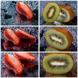 Set of photo of strawberries and kiwi with water Royalty Free Stock Photo