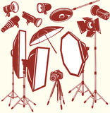 Set of photo studio equipment. Vector illustration Stock Photography