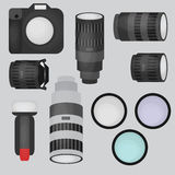 Set of photo studio equipment, camera and optic lenses flat icons Royalty Free Stock Photos