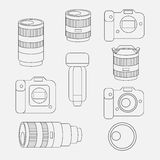 Set of photo studio equipment, camera and optic lenses flat icons Stock Image