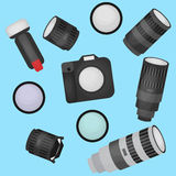Set of photo studio equipment, camera and optic lenses flat icons Stock Photos