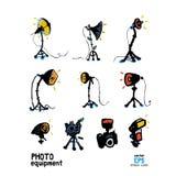 Set of photo studio equipment illustration Royalty Free Stock Image