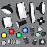 Set of photo studio equipment, light soft, camera and optic lenses flat icons Stock Photo