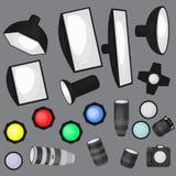 Set of photo studio equipment, light soft, camera and optic lenses flat icons Stock Photo