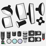 Set of photo studio equipment, light soft, camera and optic lenses flat icons. Professional photographic technology stock images