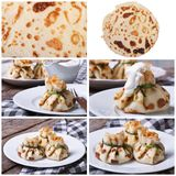 Set of photo stuffed pancake closeup Stock Photos