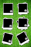 Set of photoframe with soccer  ball Royalty Free Stock Photos