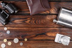 A set of a photographer on a brown wooden table background Stock Images