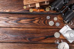 A set of a photographer on a brown wooden table background Royalty Free Stock Photo