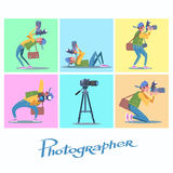 Set photographer camera reporter blogger journalist paparazzi Royalty Free Stock Photos