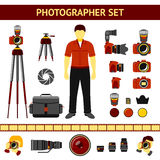 Set of Photographer icons - cameras, tripod Royalty Free Stock Images