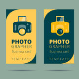 Set of photographer, photo studio business card design template,. Camera background stock illustration