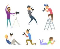 Set of photographers at work. Male and female cartoon characters with digital cameras vector illustration