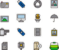 Set of Photography and Camera Icons. Set of simple outline graphic icons for photography tools royalty free stock photos