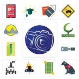 Set of photography camera, service dog, tennis court, electrician, public relations, footage, zipper, bismillah, montain icons. Set Of 13 simple editable icons Royalty Free Stock Photo