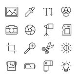 Set of photography icons in modern thin line style. High quality black outline camera symbols for web site design and mobile apps. Simple photography Stock Photography