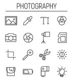 Set of photography icons in modern thin line style. High quality black outline camera symbols for web site design and mobile apps. Simple photography Royalty Free Stock Photos