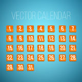 Set of Photorealistic Vector Calendar Icons from First to 31st. Illustration of Set of Photorealistic Vector Calendar Icons from First to 31st. Every day of Stock Photo