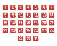 Set of Photorealistic Vector Calendar Icons from First to 31st. Royalty Free Stock Image