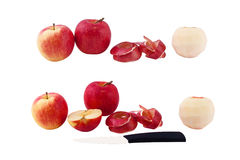 Set of photos apples, peeled apple skin of the apple, cut apple, Royalty Free Stock Image