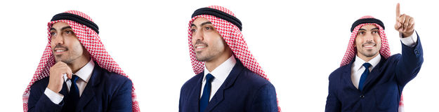 The set of photos with arab businessman Stock Image