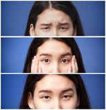 Set of photos of asian girl eyes and eyebrows with different emotions. She is offended surprised and calm Stock Image