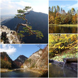 Set of photos from autumn scenery of Pieniny Mountains in Poland Royalty Free Stock Photo