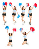 Set of photos with beautiful cheerleader Stock Photography