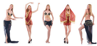 Set of photos with belly dancer on white Royalty Free Stock Images