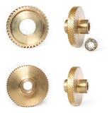Set of photos bronze gears Royalty Free Stock Image