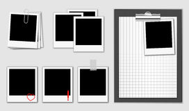 Set with photos and clipboard. Vector illustration of photos. Photo's frames have white squared texture Royalty Free Stock Images