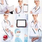Set of photos doctor smiling people stock image