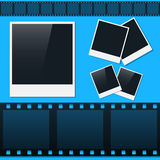 Set of photos and film tape. In vector Stock Photography