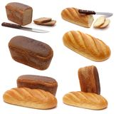 Set of photos of fresh rye bread and wheat bread Royalty Free Stock Image