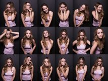 Set of photos with funny blonde woman on a black studio backgrou Stock Photo