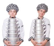 The set of photos with funny cook Royalty Free Stock Image