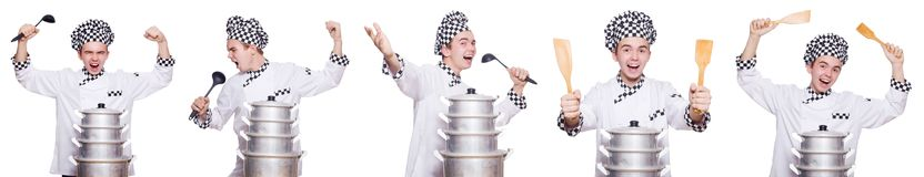 The set of photos with funny cook Royalty Free Stock Photography