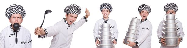 Set of photos with funny cook Royalty Free Stock Photo