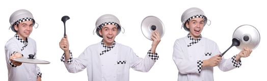 Set of photos with funny cook Royalty Free Stock Images