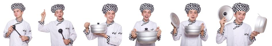 Set of photos with funny cook Stock Image