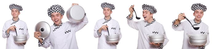 The set of photos with funny cook Stock Image