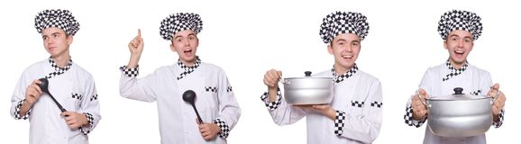 The set of photos with funny cook. Set of photos with funny cook Royalty Free Stock Photos