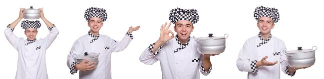 The set of photos with funny cook. Set of photos with funny cook Royalty Free Stock Photography