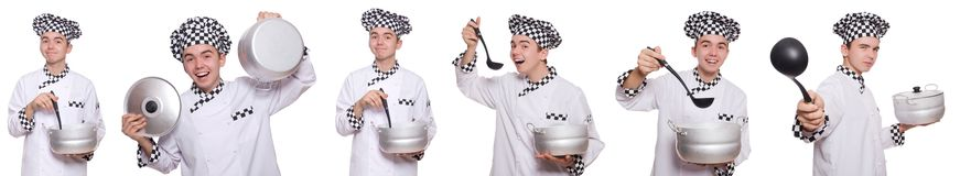 The set of photos with funny cook. Set of photos with funny cook Royalty Free Stock Image